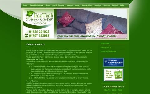 Screenshot of Privacy Page ecotechovencleaning.co.uk - EcoTech Privacy Policy - captured Oct. 1, 2014