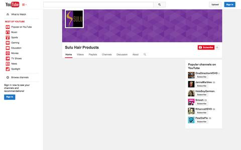 Screenshot of YouTube Page youtube.com - Sulu Hair Products  - YouTube - captured Oct. 26, 2014