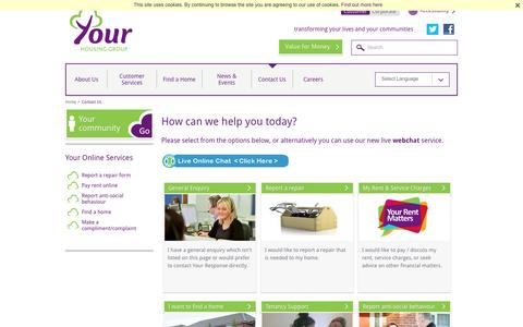 Screenshot of Contact Page yourhousinggroup.co.uk - How can we help you today? | Your Housing Group - captured Aug. 11, 2016