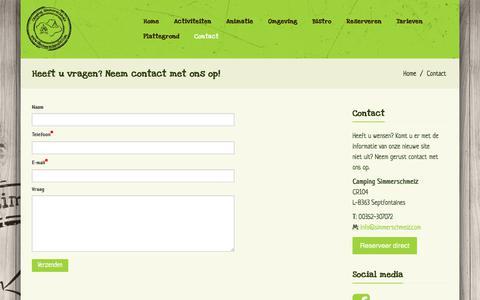 Screenshot of Contact Page simmerschmelz.com - Heeft u vragen? Neem contact met ons op! | Camping Simmerschmelz - captured Jan. 30, 2018