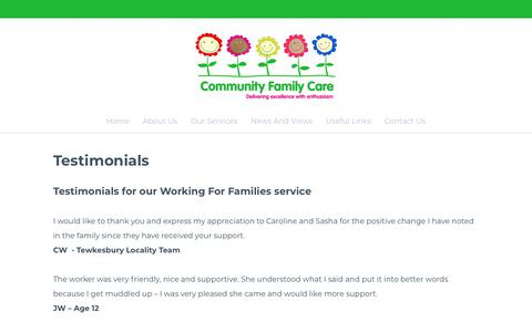 Screenshot of Testimonials Page communityfamilycare.co.uk - Testimonials | Kind words about us - Community Family Care - captured July 19, 2018