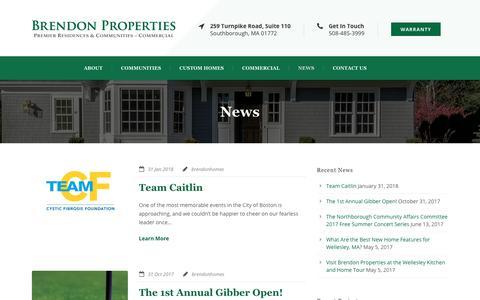 Screenshot of Press Page brendonhomes.com - Massachusetts Custom Home & Community Blog & News - captured Oct. 6, 2018