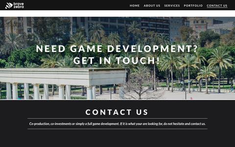 Screenshot of Contact Page bravezebra.com - Contact Us - Game Development | BraveZebra | Game outsourcing - captured Aug. 3, 2018