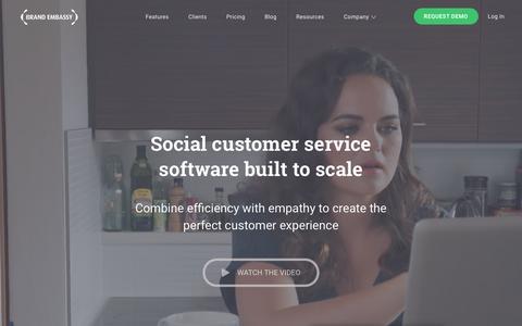 Screenshot of Home Page brandembassy.com - Social Customer Service Software   Brand Embassy - captured Nov. 10, 2016