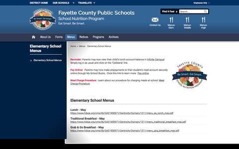 Screenshot of Menu Page fcboe.org - Elementary School Menus / Elementary School Menus - captured July 4, 2018