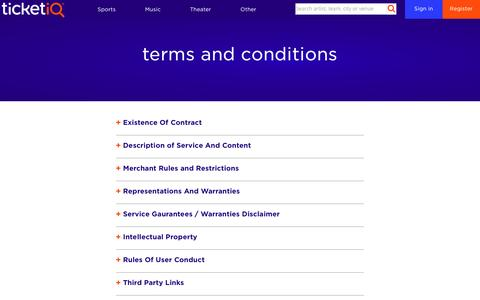 Screenshot of Terms Page tiqiq.com - Terms & Conditions · TicketIQ - captured May 9, 2017