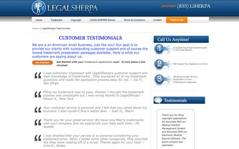 Screenshot of Testimonials Page legal-sherpa.com - Low Cost Trademarks I LegalSherpa Customer Testimonials - captured Sept. 16, 2014