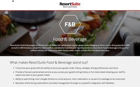 Food and Beverage operations for Resorts | ResortSuite