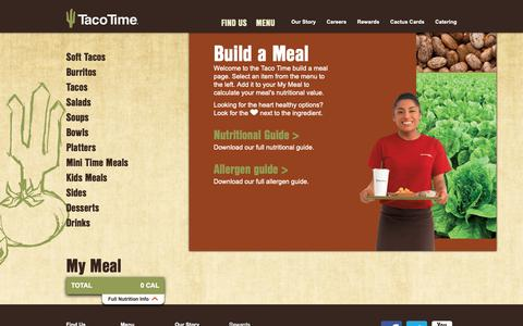 Screenshot of Menu Page tacotimenw.com - Build a Meal at Taco Time Northwest - captured Oct. 18, 2018