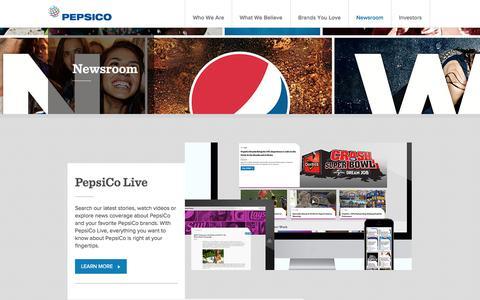 Screenshot of Press Page pepsico.com - Newsroom | PepsiCo.com - captured Oct. 28, 2014