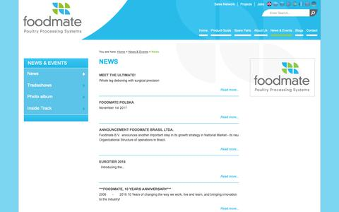 Screenshot of Press Page foodmate.nl - News - Foodmate | Poultry Processing Systems - captured Oct. 10, 2018