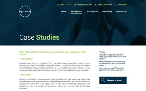 Screenshot of Case Studies Page i-payout.com - I-Payout - captured Nov. 4, 2014