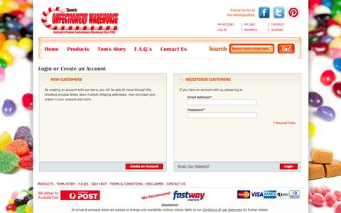 Screenshot of Login Page confectionerywarehouse.com.au - Customer Login - Toms Confectionery Warehouse - captured Oct. 7, 2014