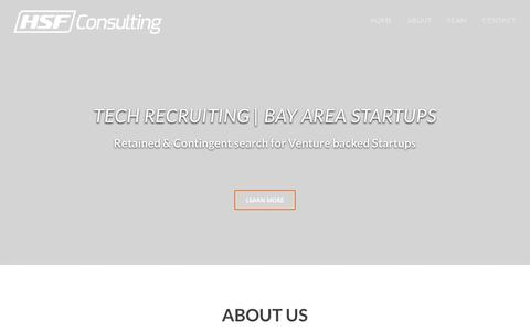 Screenshot of Home Page hsf.io - HSF Consulting |Recruiting for San Francisco Bay Tech Startups - captured Oct. 1, 2014