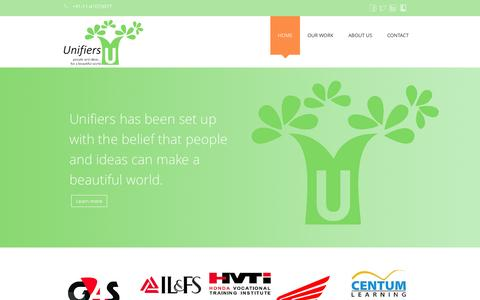 Screenshot of Home Page unifiers.in - Unifiers - people and ideas....for a beautiful world - captured Feb. 13, 2016