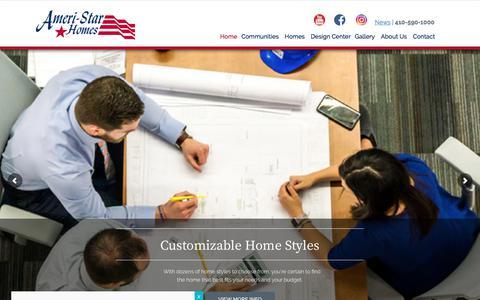 Screenshot of Home Page ameristarhomes.com - Custom Home Builders, MD | New Home Builders - captured June 2, 2018