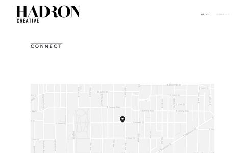 Screenshot of Locations Page hadroncreative.com - CONNECT — HADRON CREATIVE - captured Sept. 27, 2014