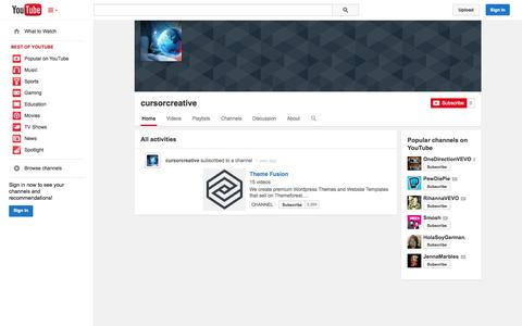 Screenshot of YouTube Page youtube.com - cursorcreative  - YouTube - captured Oct. 23, 2014