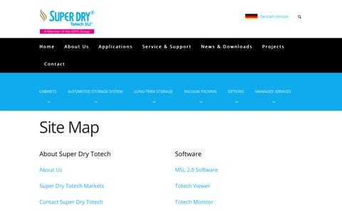 Screenshot of Site Map Page superdry-totech.com - Site Map of our website - Super Dry Totech - captured Oct. 18, 2018