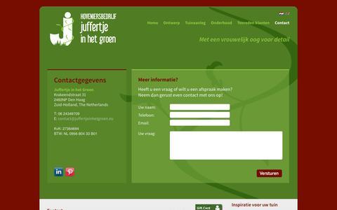 Screenshot of Contact Page juffertjeinhetgroen.eu - Contact opnemen of een vraag stellen over uw tuin? | Juffertje in het Groen - captured Oct. 3, 2014