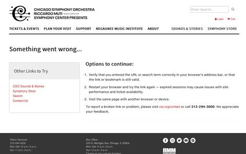 Screenshot of Contact Page cso.org - Chicago Symphony Orchestra - - captured Oct. 11, 2019