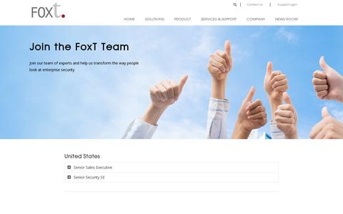 Screenshot of Jobs Page foxt.com - Careers | FoxT Access Management Software - captured July 18, 2014