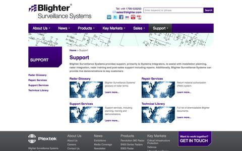 Screenshot of Support Page blighter.com - Blighter® | Support - Repair Services, Support Services and Technical Library - captured Oct. 5, 2014