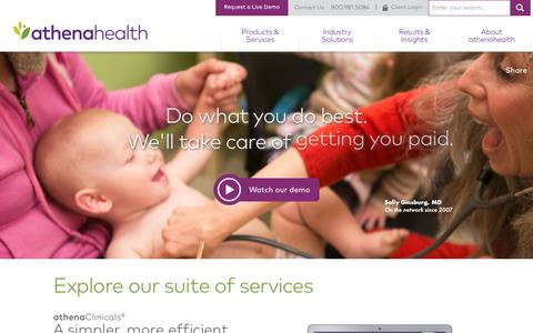 Screenshot of Home Page athenahealth.com - Cloud-Based EHR and Practice Management Services | athenahealth - captured Oct. 1, 2015