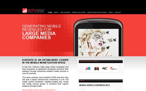 Screenshot of Home Page echovox.com - Echovox mobile monetization - captured July 11, 2014