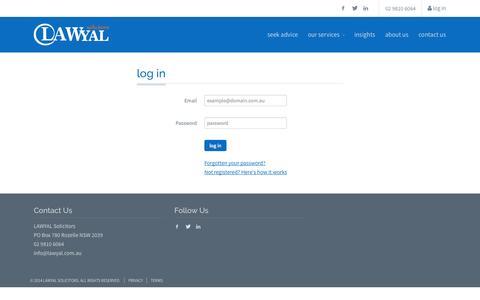 Screenshot of Login Page lawyal.com.au - Log in | LAWYAL Solicitors - captured Oct. 1, 2014