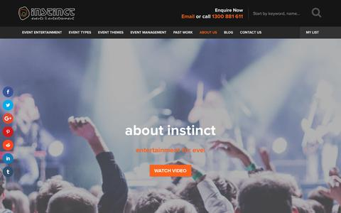 Screenshot of About Page instinctmusic.com.au - Entertainment Agency, Instinct Music | Melbourne & Australia Wide - captured Oct. 12, 2018