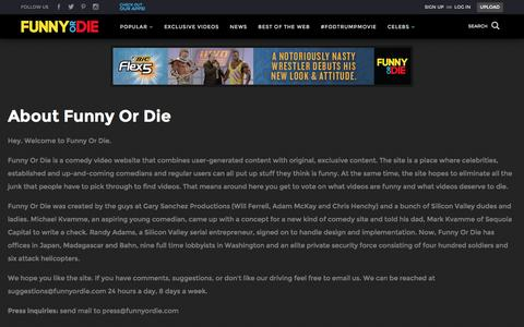 Screenshot of About Page funnyordie.com - What is Funny Or Die? - captured March 6, 2016