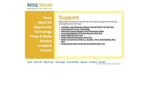 Screenshot of Support Page resqsolar.com - RESQ Solar Corporation - Photo Voltaic Solar Panel Manufacturing - captured Oct. 26, 2014