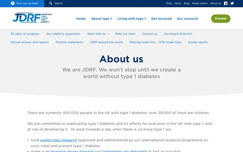 Screenshot of About Page jdrf.org.uk - About us - JDRF, the type 1 diabetes charity - captured Nov. 18, 2016