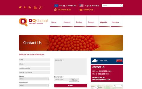 Screenshot of Contact Page dqglobal.com - Contact UK database management software  company | DQ Global - captured Oct. 10, 2014