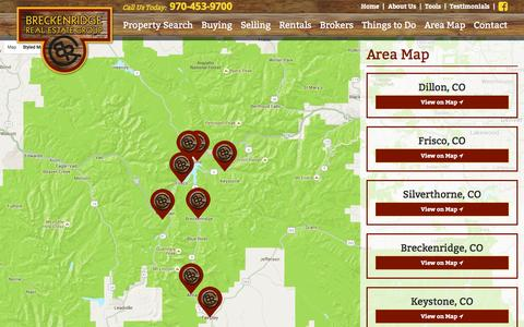 Screenshot of Maps & Directions Page breckenridgerealestategroup.com - Area Map - Breckenridge Real Estate - captured Jan. 7, 2016