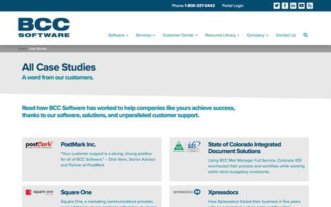 Screenshot of Case Studies Page bccsoftware.com - Mailing Software Case Studies - BCC Software - captured July 31, 2018