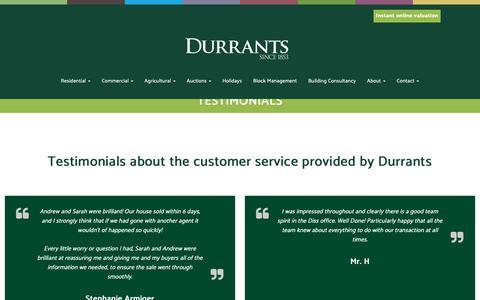 Screenshot of Testimonials Page durrants.com - Durrants | Testimonials - captured Sept. 28, 2018