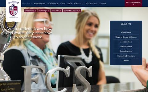 Screenshot of About Page fellowshipchristianschool.org - Fellowship Christian School - About FCS - captured Feb. 24, 2017