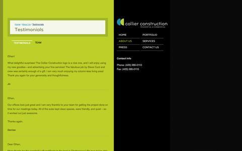 Screenshot of Testimonials Page collierbuild.com - Testimonials | Collier Construction - captured Oct. 3, 2014