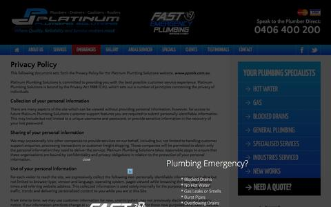 Screenshot of Privacy Page ppsols.com.au - Privacy Policy - Platinum Plumbing Solutions - captured Jan. 29, 2016
