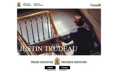 Screenshot of Home Page pm.gc.ca - Prime Minister of Canada / Premier ministre du Canada - captured Feb. 13, 2016