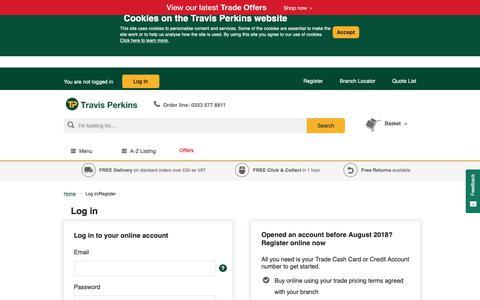 Screenshot of Login Page travisperkins.co.uk - Login   Travis Perkins - captured Feb. 24, 2019