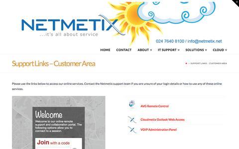 Screenshot of Login Page netmetix.net - Support Links - Customer Area - captured Nov. 29, 2016