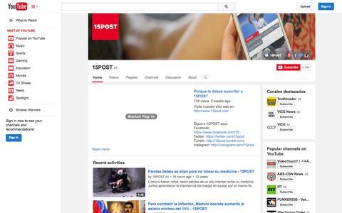 Screenshot of YouTube Page youtube.com - 15POST  - YouTube - captured Nov. 5, 2014