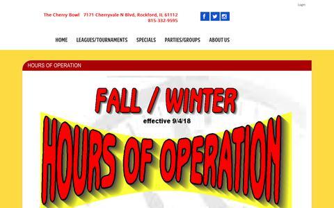 Screenshot of Hours Page thecherrybowlonline.com - Hours - captured Oct. 22, 2018