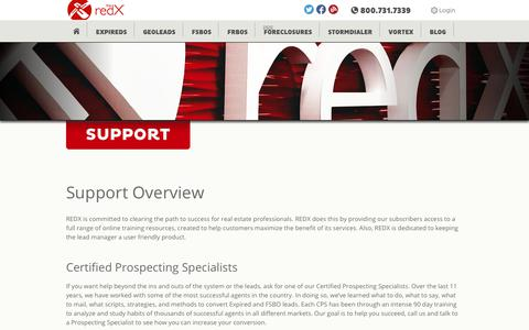 Screenshot of Support Page theredx.com - Support | REDX - captured July 1, 2017