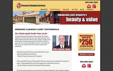 Screenshot of Testimonials Page bcpressurecleaningandsealing.com - Pressure Cleaning Client Testimonials - captured Oct. 4, 2014