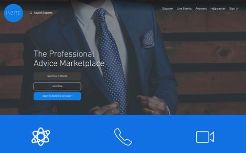 Screenshot of Home Page inzite.io - Inzite - The Professional Advice Marketplace - captured April 25, 2016