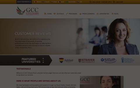Screenshot of Testimonials Page gccscholarships.com - Testimonials and Customer Reviews | GCC Scholarships - captured Sept. 26, 2014